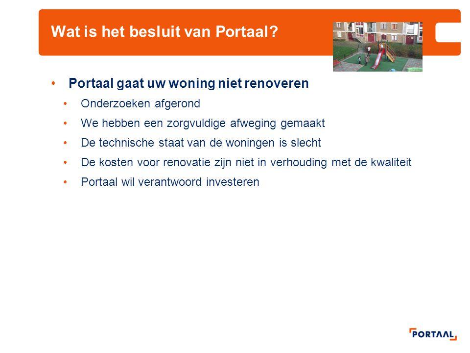 Wat is het besluit van Portaal? •Portaal gaat uw woning niet renoveren •Onderzoeken afgerond •We hebben een zorgvuldige afweging gemaakt •De technisch