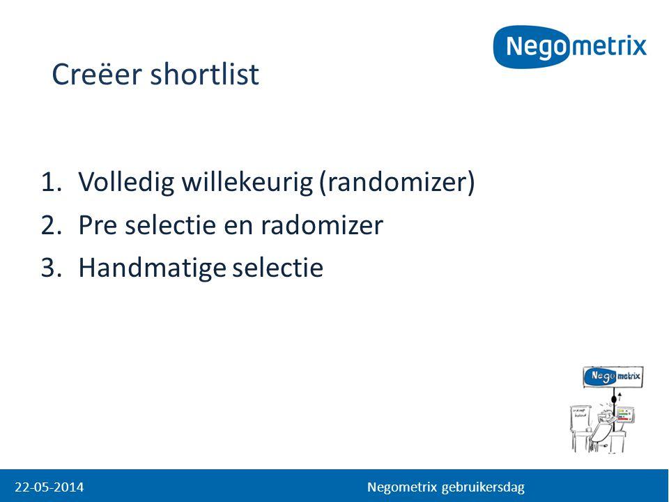 1.Volledig willekeurig (randomizer) 2.Pre selectie en radomizer 3.Handmatige selectie 22-05-2014 Negometrix gebruikersdag Creëer shortlist