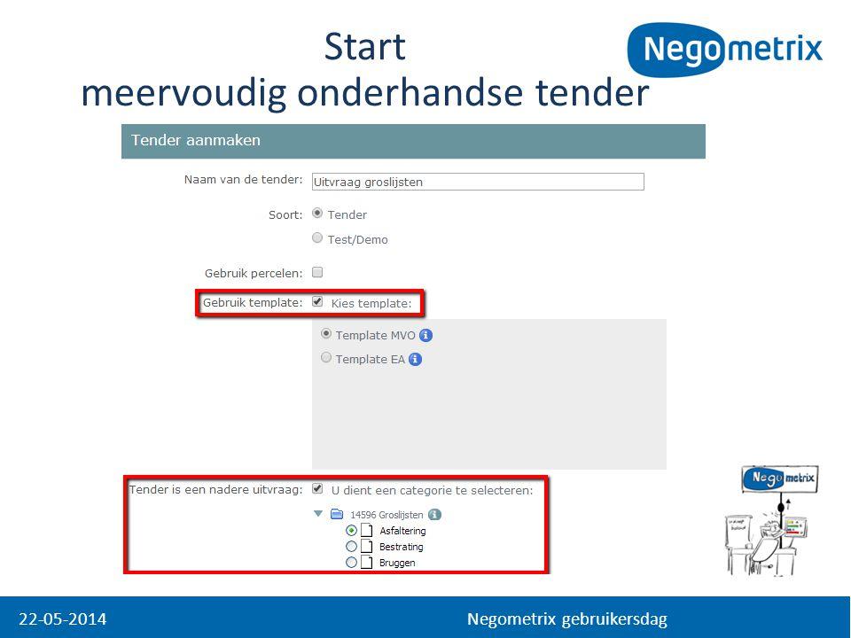 22-05-2014 Negometrix gebruikersdag Start meervoudig onderhandse tender