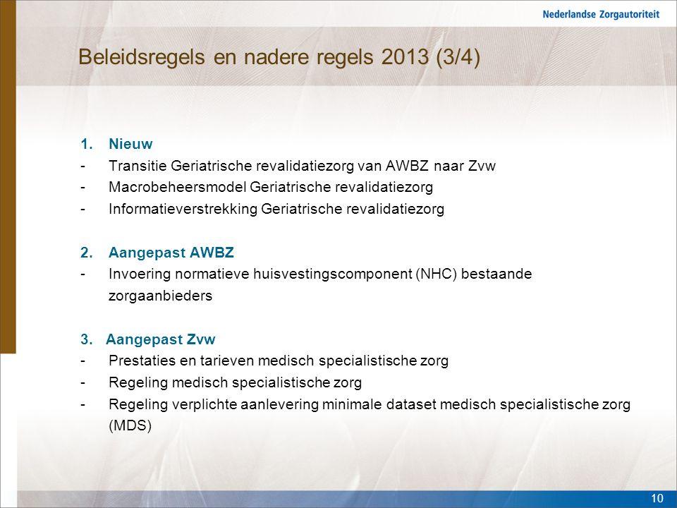 Beleidsregels en nadere regels 2013 (3/4) 1.Nieuw -Transitie Geriatrische revalidatiezorg van AWBZ naar Zvw -Macrobeheersmodel Geriatrische revalidati