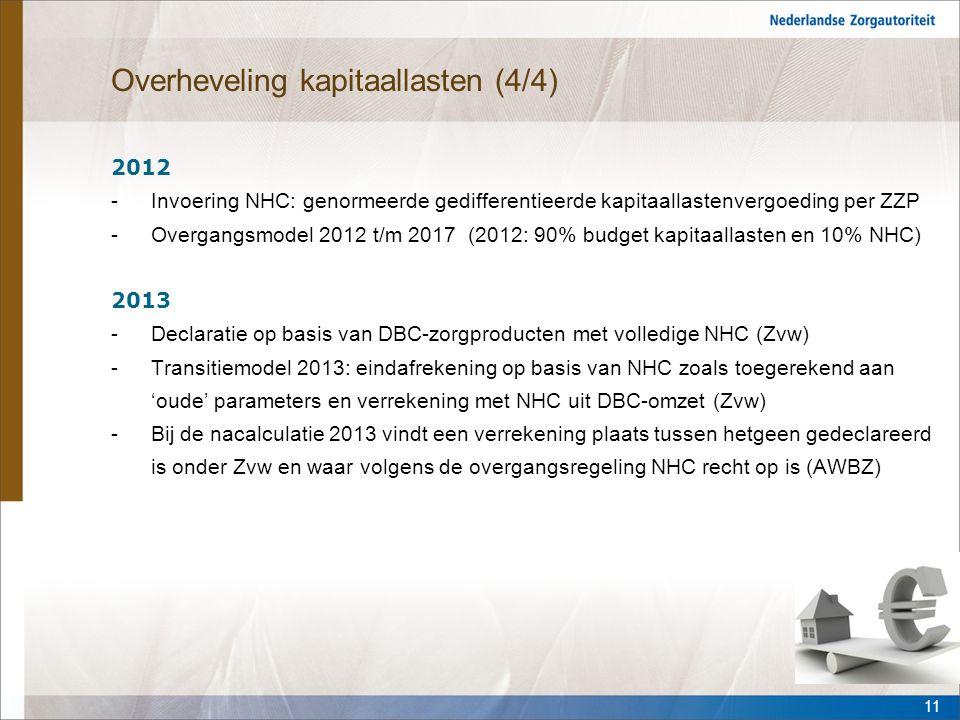 Overheveling kapitaallasten (4/4) 2012 -Invoering NHC: genormeerde gedifferentieerde kapitaallastenvergoeding per ZZP -Overgangsmodel 2012 t/m 2017 (2