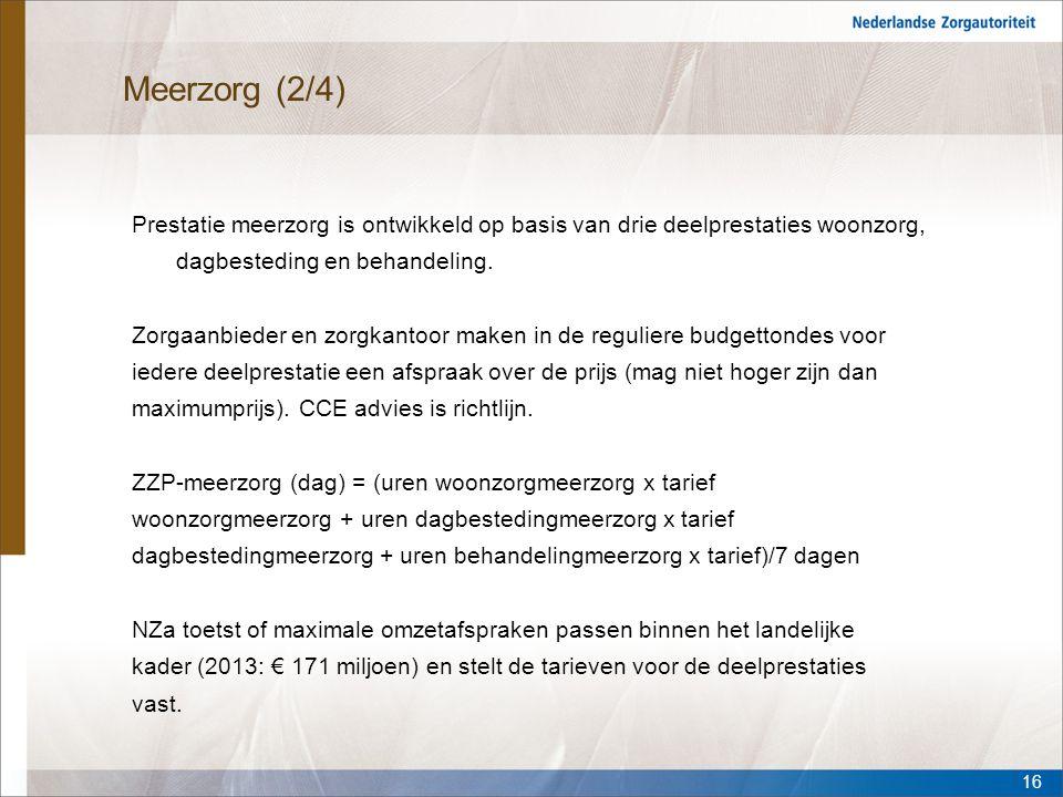 Meerzorg (2/4) Prestatie meerzorg is ontwikkeld op basis van drie deelprestaties woonzorg, dagbesteding en behandeling. Zorgaanbieder en zorgkantoor m