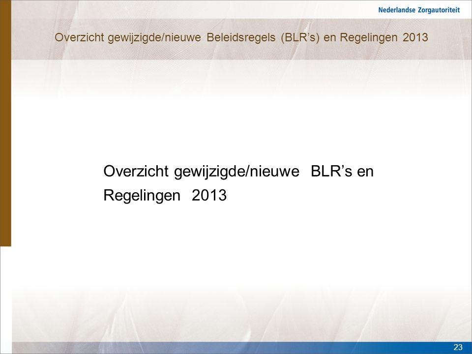 Overzicht gewijzigde/nieuwe Beleidsregels (BLR's) en Regelingen 2013 Overzicht gewijzigde/nieuwe BLR's en Regelingen 2013 23