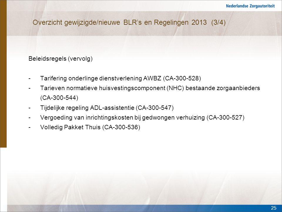 Overzicht gewijzigde/nieuwe BLR's en Regelingen 2013 (3/4) Beleidsregels (vervolg) -Tarifering onderlinge dienstverlening AWBZ (CA-300-528) -Tarieven