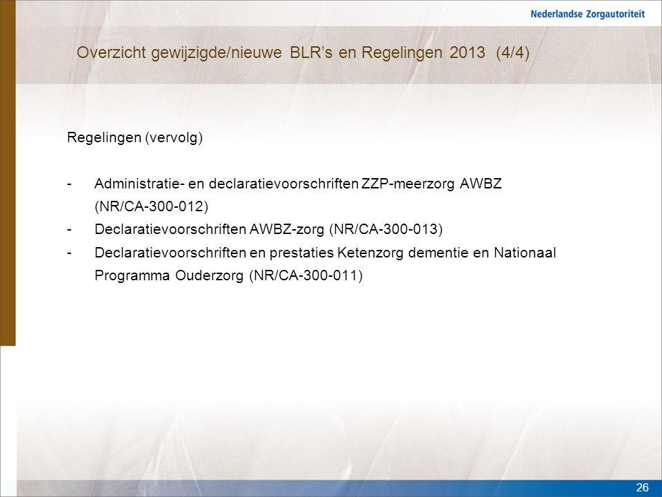 Overzicht gewijzigde/nieuwe BLR's en Regelingen 2013 (4/4) Regelingen (vervolg) -Administratie- en declaratievoorschriften ZZP-meerzorg AWBZ (NR/CA-30