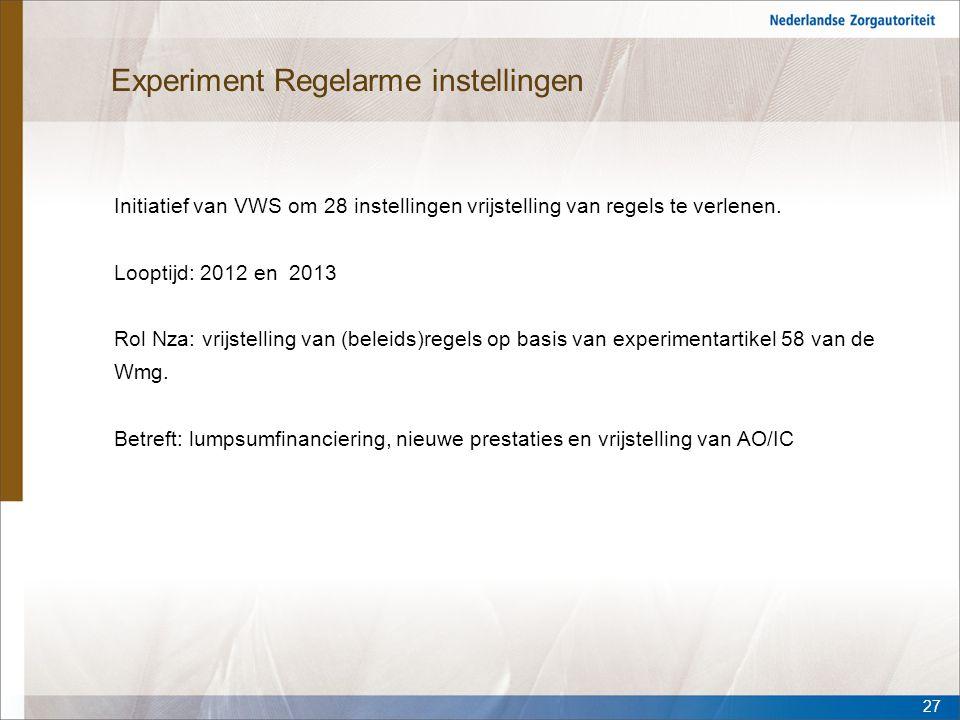 Experiment Regelarme instellingen Initiatief van VWS om 28 instellingen vrijstelling van regels te verlenen. Looptijd: 2012 en 2013 Rol Nza: vrijstell