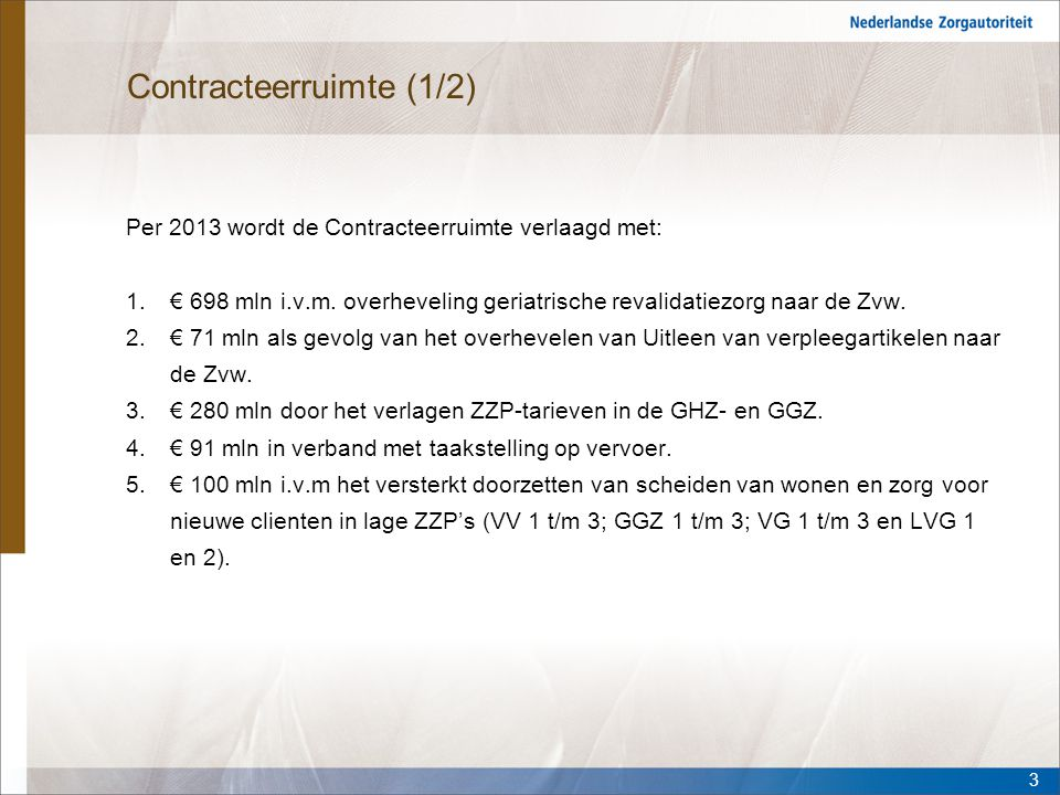 Contracteerruimte (1/2) Per 2013 wordt de Contracteerruimte verlaagd met: 1.€ 698 mln i.v.m. overheveling geriatrische revalidatiezorg naar de Zvw. 2.