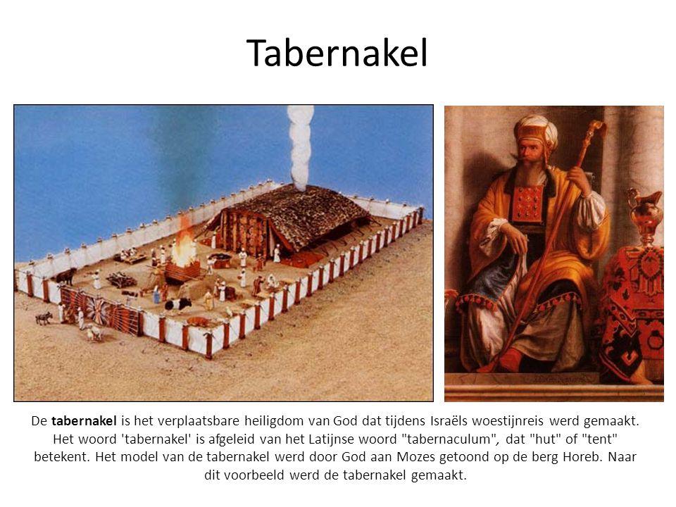 Tabernakel De tabernakel is het verplaatsbare heiligdom van God dat tijdens Israëls woestijnreis werd gemaakt. Het woord 'tabernakel' is afgeleid van