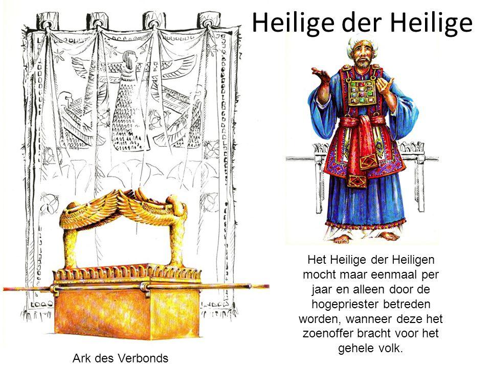 Heilige der Heilige Ark des Verbonds Het Heilige der Heiligen mocht maar eenmaal per jaar en alleen door de hogepriester betreden worden, wanneer deze