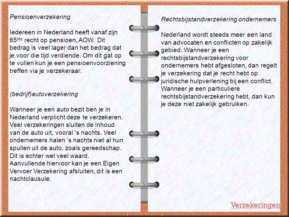 Pensioenverzekering Iedereen in Nederland heeft vanaf zijn 65 ste recht op pensioen, AOW. Dit bedrag is veel lager dan het bedrag dat je voor die tijd