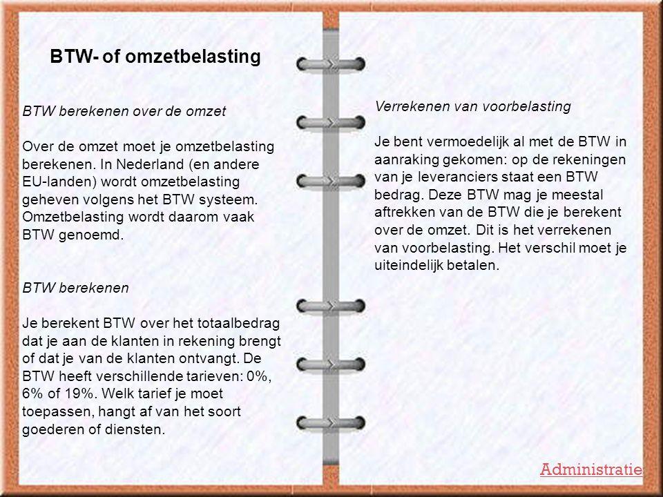 BTW- of omzetbelasting BTW berekenen over de omzet Over de omzet moet je omzetbelasting berekenen. In Nederland (en andere EU-landen) wordt omzetbelas