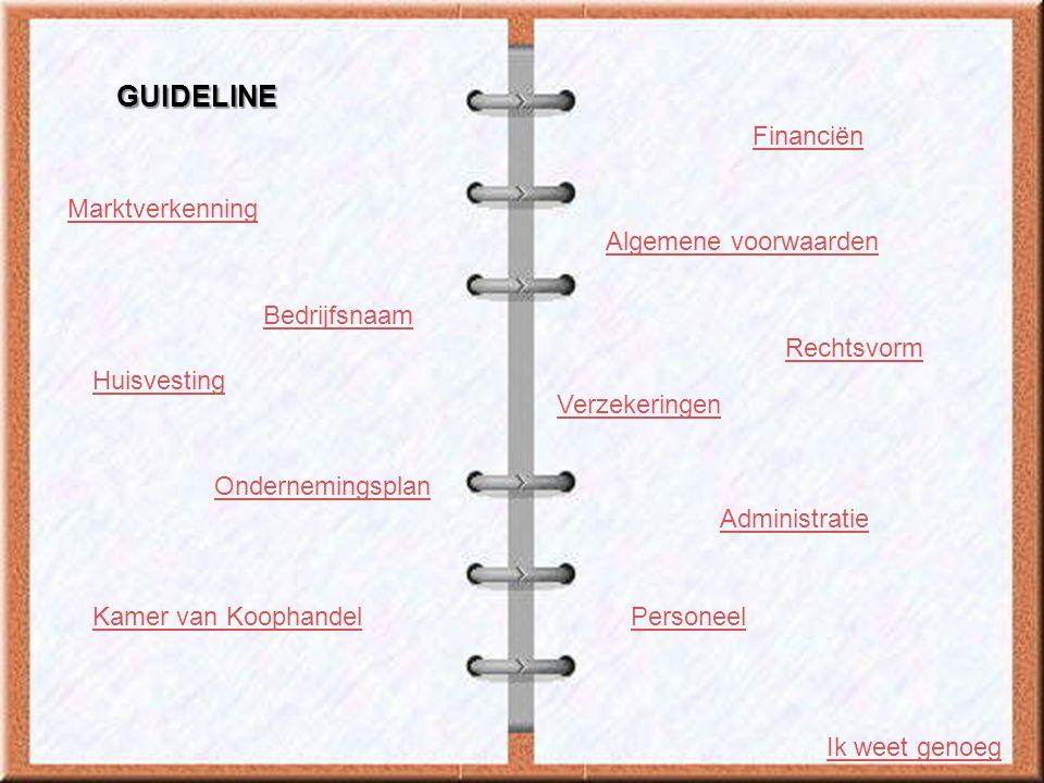 Marktverkenning Algemene voorwaarden Bedrijfsnaam Rechtsvorm Huisvesting Ondernemingsplan Verzekeringen Financiën Administratie Kamer van KoophandelPe