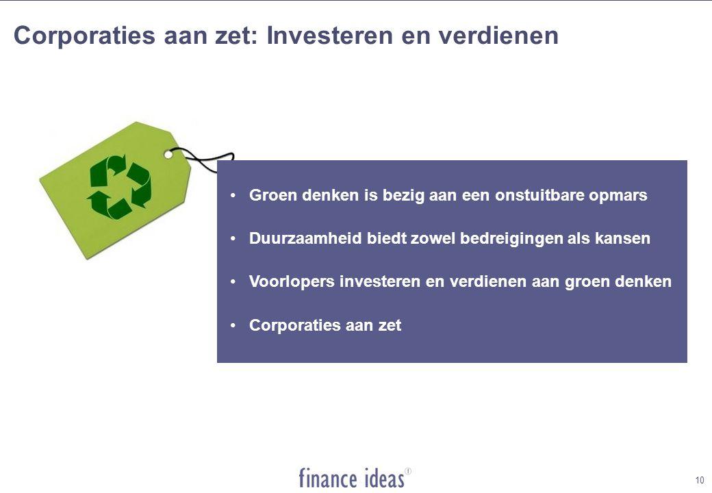 Corporaties aan zet: Investeren en verdienen •Groen denken is bezig aan een onstuitbare opmars •Duurzaamheid biedt zowel bedreigingen als kansen •Voorlopers investeren en verdienen aan groen denken •Corporaties aan zet 10