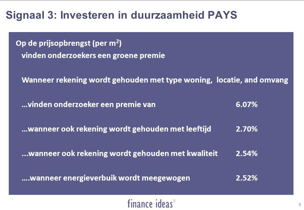 Op de prijsopbrengst (per m 2 ) vinden onderzoekers een groene premie Wanneer rekening wordt gehouden met type woning, locatie, and omvang …vinden onderzoeker een premie van6.07% …wanneer ook rekening wordt gehouden met leeftijd2.70%...wanneer ook rekening wordt gehouden met kwaliteit2.54% ….wanneer energieverbuik wordt meegewogen2.52% Signaal 3: Investeren in duurzaamheid PAYS 5