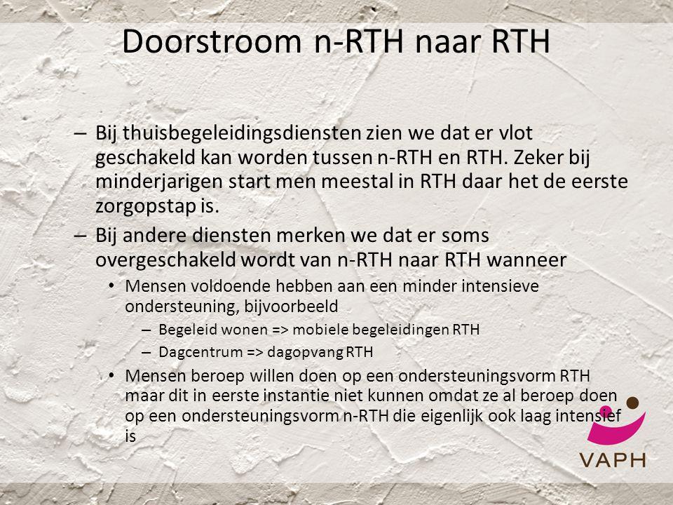 Doorstroom n-RTH naar RTH – Bij thuisbegeleidingsdiensten zien we dat er vlot geschakeld kan worden tussen n-RTH en RTH. Zeker bij minderjarigen start