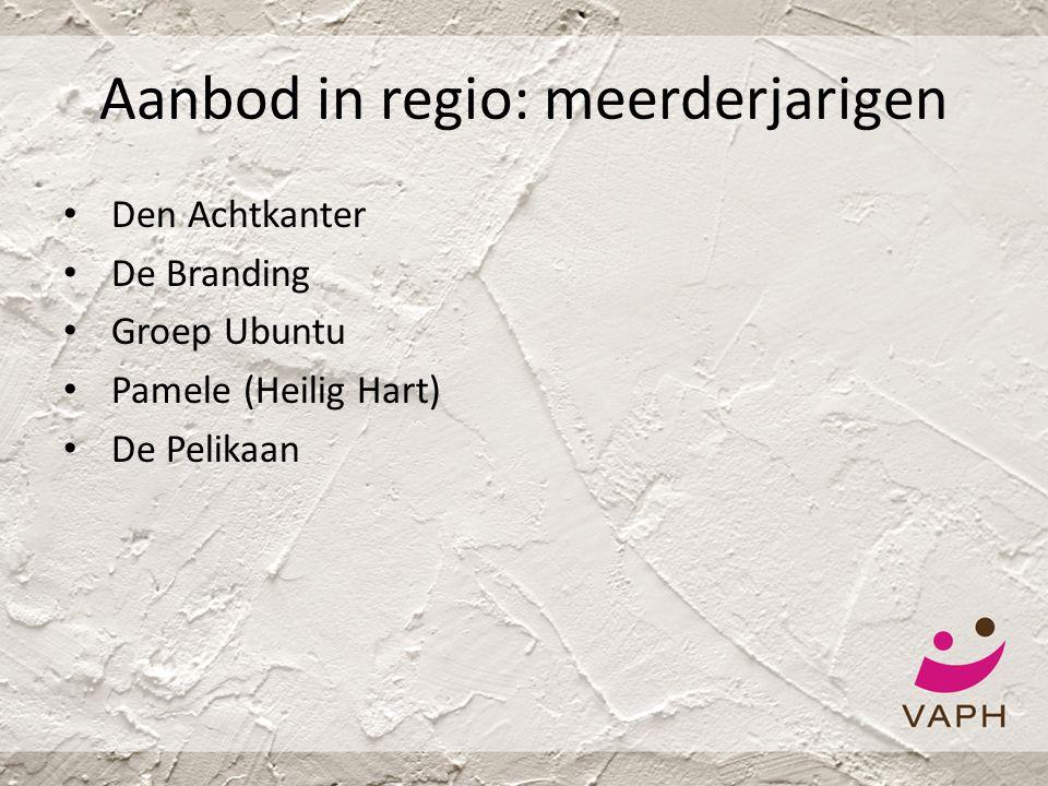 Aanbod in regio: meerderjarigen • Den Achtkanter • De Branding • Groep Ubuntu • Pamele (Heilig Hart) • De Pelikaan