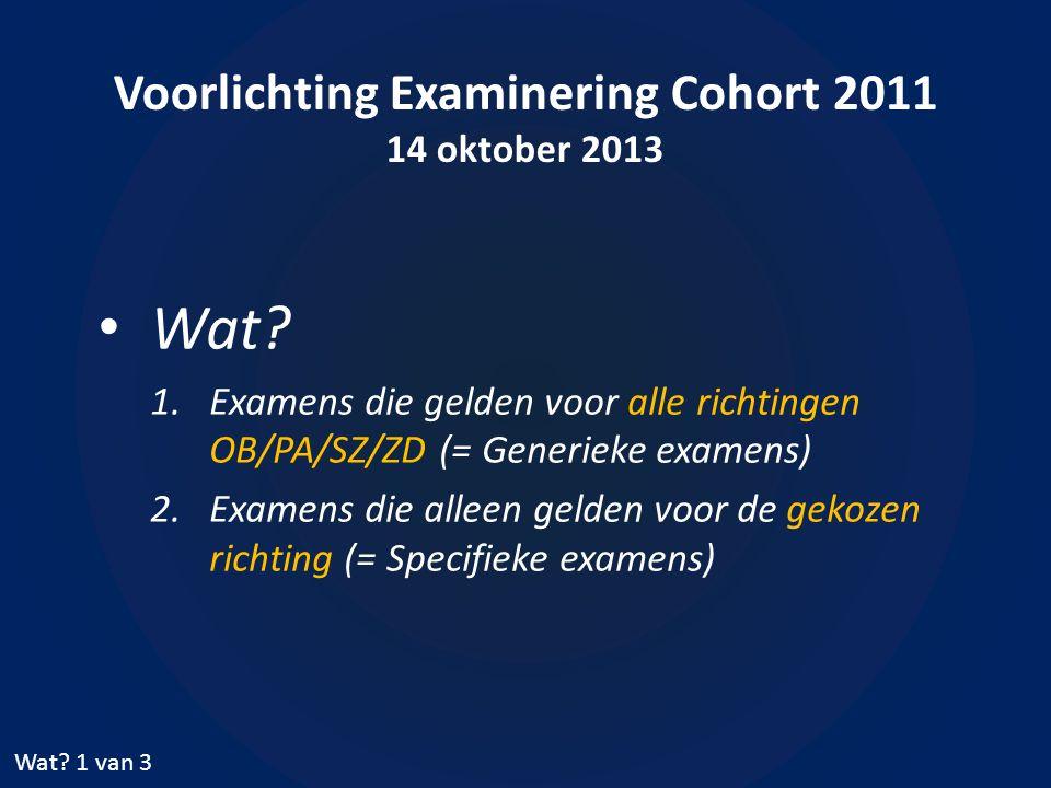 Voorlichting Examinering Cohort 2011 14 oktober 2013 • Wat.