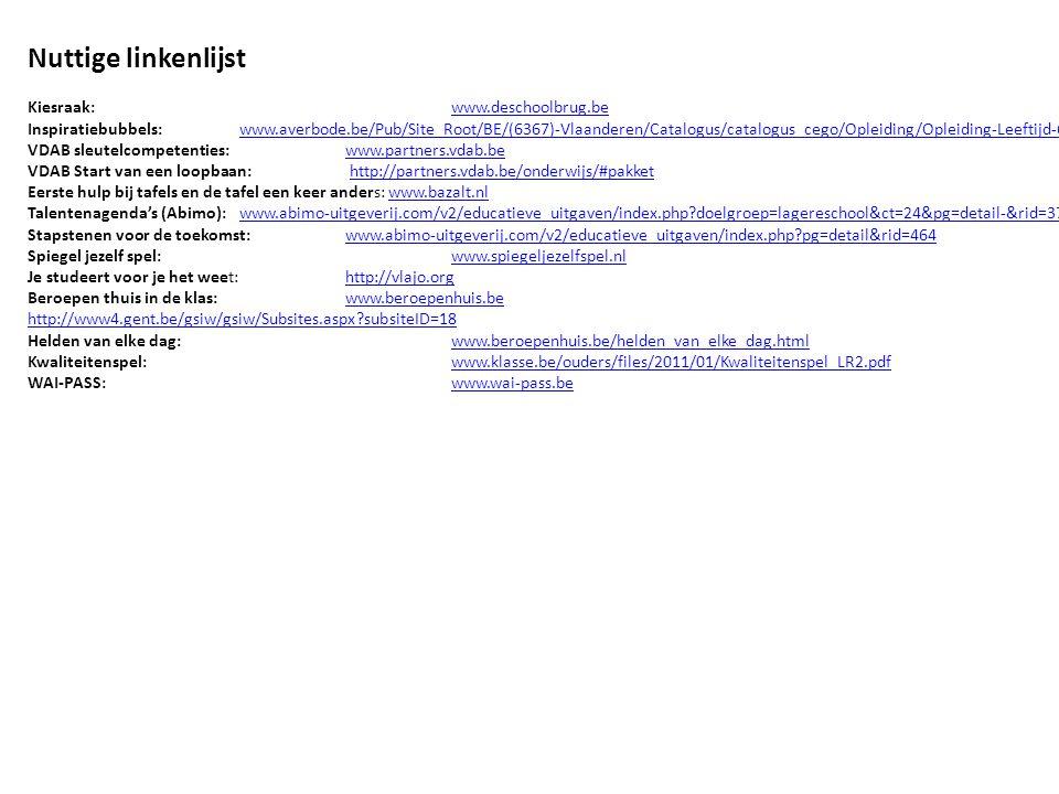Nuttige linkenlijst Kiesraak:www.deschoolbrug.bewww.deschoolbrug.be Inspiratiebubbels:www.averbode.be/Pub/Site_Root/BE/(6367)-Vlaanderen/Catalogus/catalogus_cego/Opleiding/Opleiding-Leeftijd-6-tot-12-jaar.html?detail=38433www.averbode.be/Pub/Site_Root/BE/(6367)-Vlaanderen/Catalogus/catalogus_cego/Opleiding/Opleiding-Leeftijd-6-tot-12-jaar.html?detail=38433 VDAB sleutelcompetenties:www.partners.vdab.bewww.partners.vdab.be VDAB Start van een loopbaan: http://partners.vdab.be/onderwijs/#pakkethttp://partners.vdab.be/onderwijs/#pakket Eerste hulp bij tafels en de tafel een keer anders: www.bazalt.nlwww.bazalt.nl Talentenagenda's (Abimo):www.abimo-uitgeverij.com/v2/educatieve_uitgaven/index.php?doelgroep=lagereschool&ct=24&pg=detail-&rid=374www.abimo-uitgeverij.com/v2/educatieve_uitgaven/index.php?doelgroep=lagereschool&ct=24&pg=detail-&rid=374 Stapstenen voor de toekomst: www.abimo-uitgeverij.com/v2/educatieve_uitgaven/index.php?pg=detail&rid=464www.abimo-uitgeverij.com/v2/educatieve_uitgaven/index.php?pg=detail&rid=464 Spiegel jezelf spel:www.spiegeljezelfspel.nlwww.spiegeljezelfspel.nl Je studeert voor je het weet: http://vlajo.orghttp://vlajo.org Beroepen thuis in de klas:www.beroepenhuis.bewww.beroepenhuis.be http://www4.gent.be/gsiw/gsiw/Subsites.aspx?subsiteID=18 Helden van elke dag:www.beroepenhuis.be/helden_van_elke_dag.htmlwww.beroepenhuis.be/helden_van_elke_dag.html Kwaliteitenspel:www.klasse.be/ouders/files/2011/01/Kwaliteitenspel_LR2.pdfwww.klasse.be/ouders/files/2011/01/Kwaliteitenspel_LR2.pdf WAI-PASS:www.wai-pass.bewww.wai-pass.be