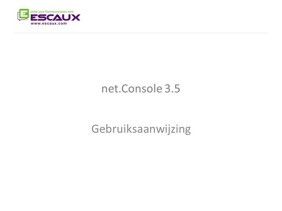 The net.Console User Manual net.Console 3.5 Gebruiksaanwijzing