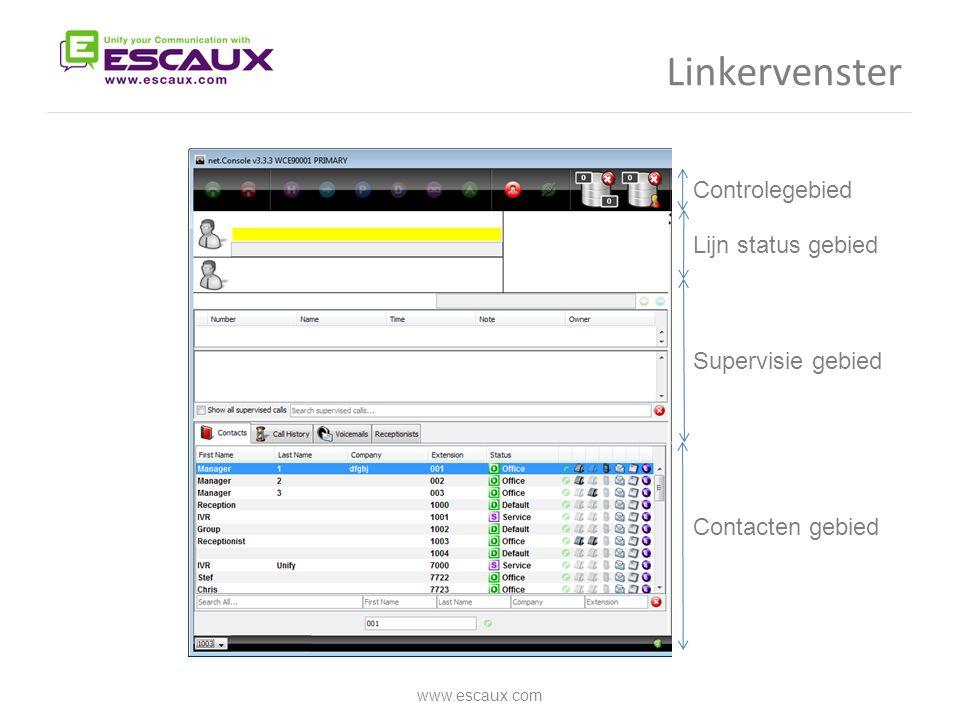 www.escaux.com Controlegebied Lijn status gebied Supervisie gebied Contacten gebied