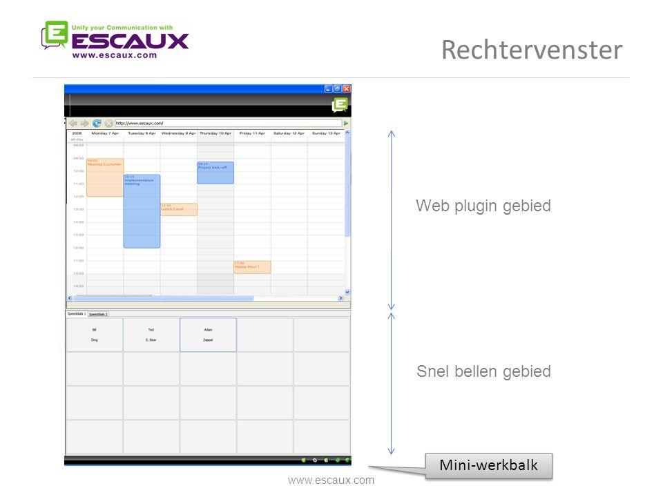 Rechtervenster www.escaux.com Web plugin gebied Snel bellen gebied Mini-werkbalk