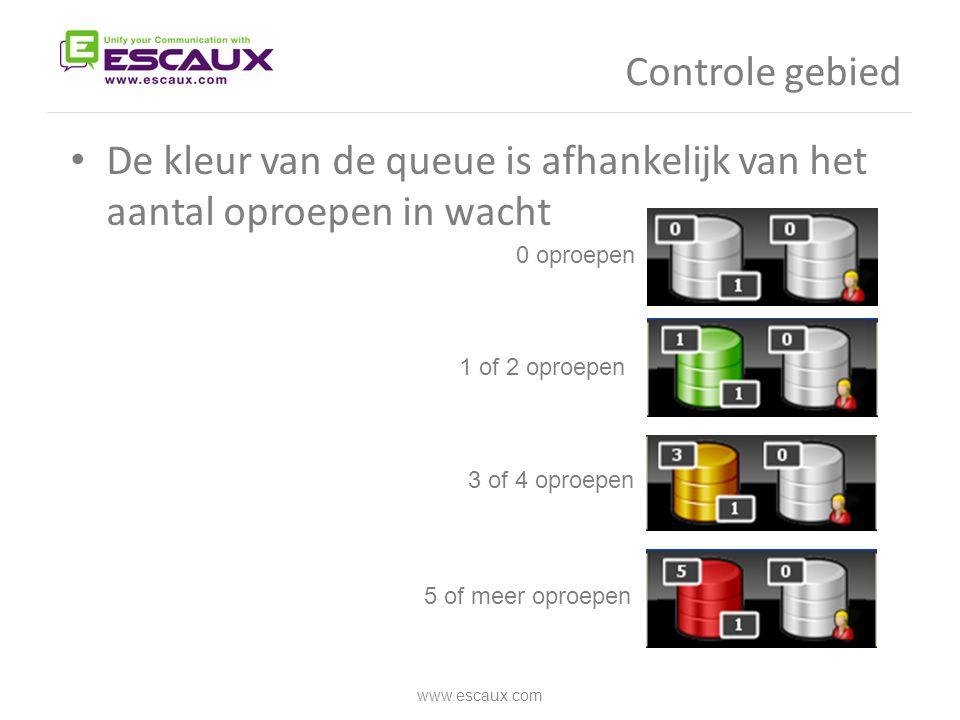 Controle gebied www.escaux.com • De kleur van de queue is afhankelijk van het aantal oproepen in wacht 0 oproepen 1 of 2 oproepen 3 of 4 oproepen 5 of