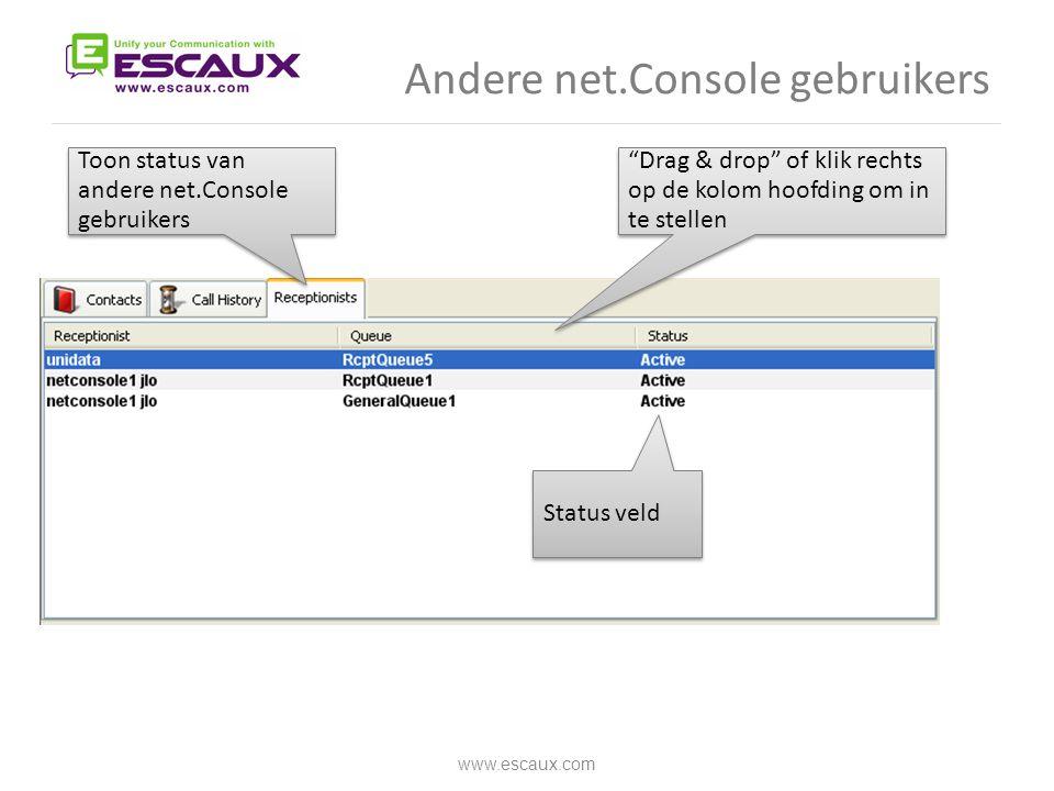 "Andere net.Console gebruikers www.escaux.com Toon status van andere net.Console gebruikers Status veld ""Drag & drop"" of klik rechts op de kolom hoofdi"
