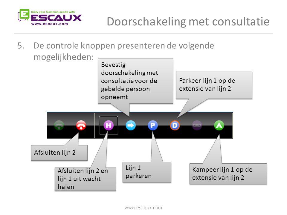 Doorschakeling met consultatie 5.De controle knoppen presenteren de volgende mogelijkheden: www.escaux.com Afsluiten lijn 2 Afsluiten lijn 2 en lijn 1