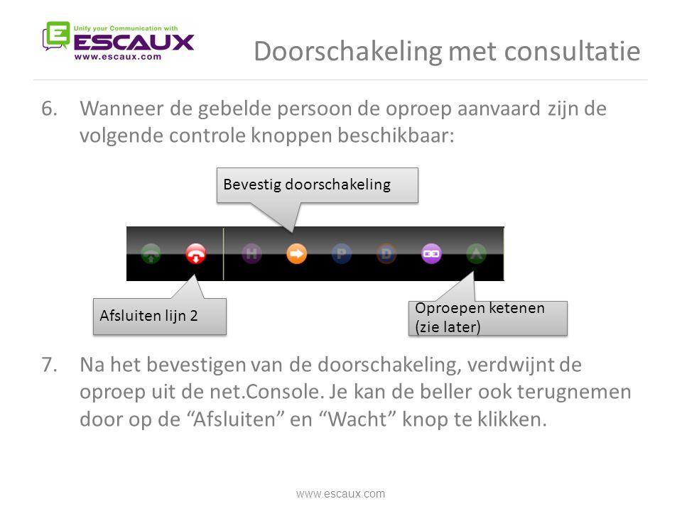 Doorschakeling met consultatie 6.Wanneer de gebelde persoon de oproep aanvaard zijn de volgende controle knoppen beschikbaar: 7.Na het bevestigen van