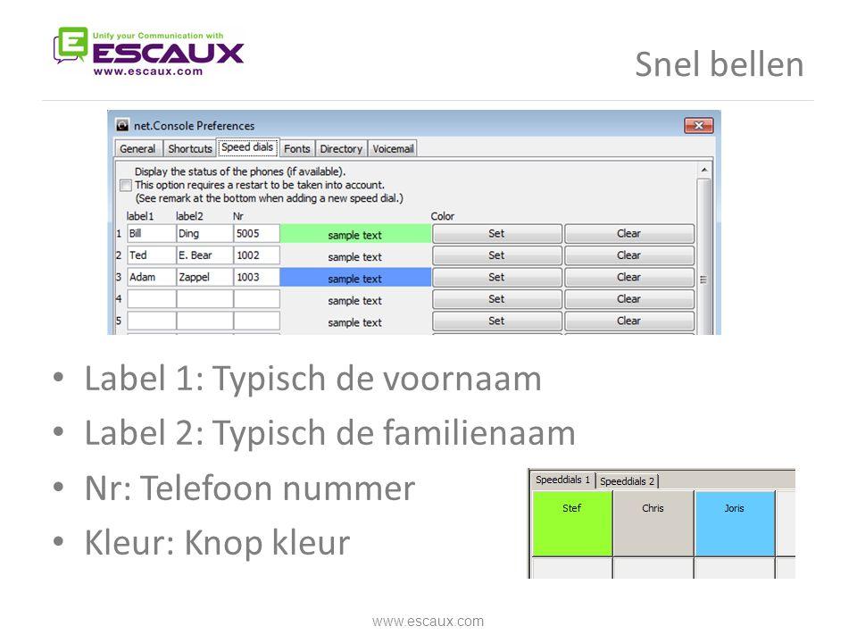 Snel bellen • Label 1: Typisch de voornaam • Label 2: Typisch de familienaam • Nr: Telefoon nummer • Kleur: Knop kleur www.escaux.com