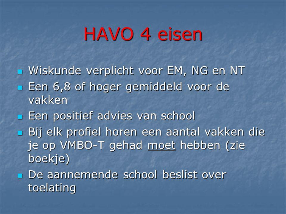 HAVO 4 eisen  Wiskunde verplicht voor EM, NG en NT  Een 6,8 of hoger gemiddeld voor de vakken  Een positief advies van school  Bij elk profiel horen een aantal vakken die je op VMBO-T gehad moet hebben (zie boekje)  De aannemende school beslist over toelating