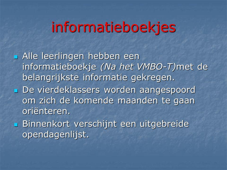 informatieboekjes  Alle leerlingen hebben een informatieboekje (Na het VMBO-T)met de belangrijkste informatie gekregen.