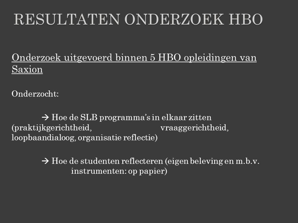 Onderzoek uitgevoerd binnen 5 HBO opleidingen van Saxion Onderzocht:  Hoe de SLB programma's in elkaar zitten (praktijkgerichtheid, vraaggerichtheid,