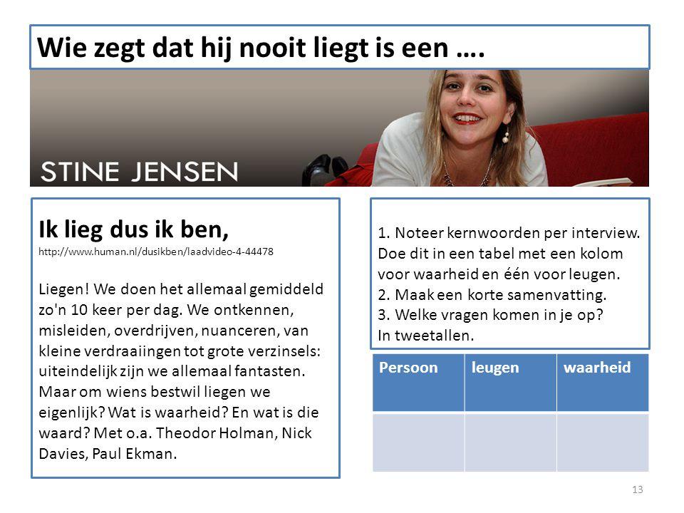 13 Wie zegt dat hij nooit liegt is een …. Ik lieg dus ik ben, http://www.human.nl/dusikben/laadvideo-4-44478 Liegen! We doen het allemaal gemiddeld zo