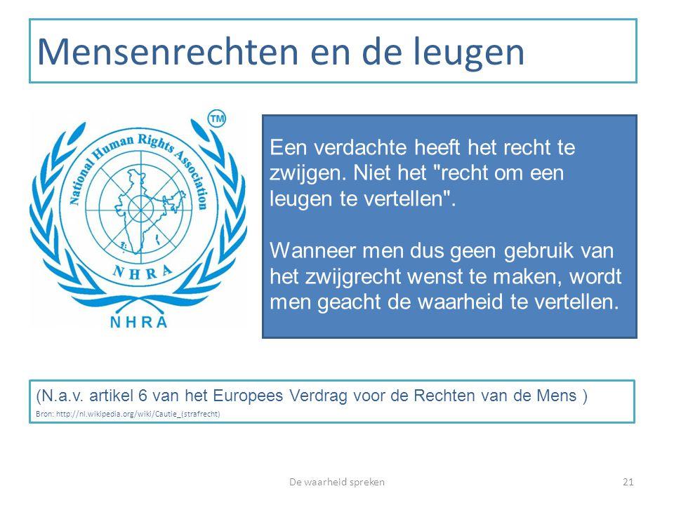 Mensenrechten en de leugen De waarheid spreken21 Een verdachte heeft het recht te zwijgen. Niet het