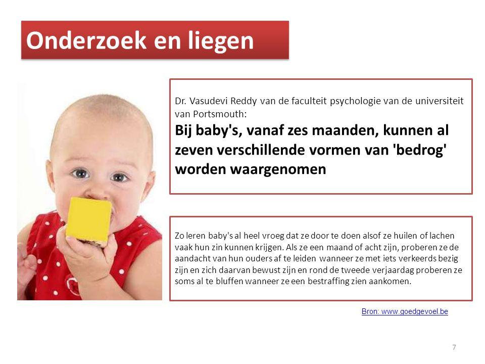 7 Onderzoek en liegen Dr. Vasudevi Reddy van de faculteit psychologie van de universiteit van Portsmouth: Bij baby's, vanaf zes maanden, kunnen al zev