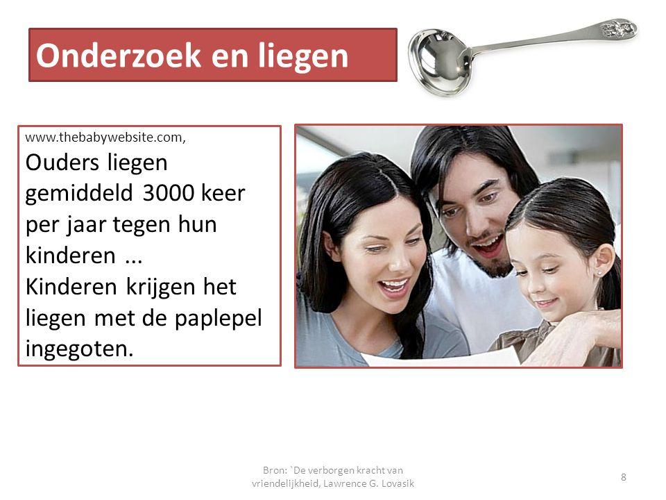 Bron: `De verborgen kracht van vriendelijkheid, Lawrence G. Lovasik 8 Onderzoek en liegen www.thebabywebsite.com, Ouders liegen gemiddeld 3000 keer pe