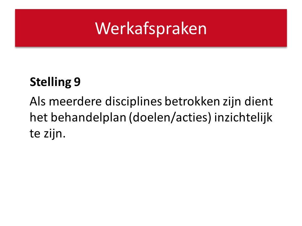 Stelling 9 Als meerdere disciplines betrokken zijn dient het behandelplan (doelen/acties) inzichtelijk te zijn. Werkafspraken