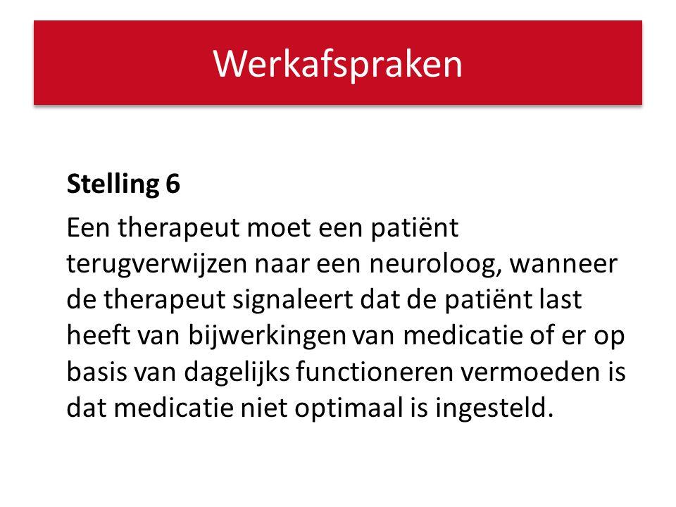 Stelling 6 Een therapeut moet een patiënt terugverwijzen naar een neuroloog, wanneer de therapeut signaleert dat de patiënt last heeft van bijwerkinge