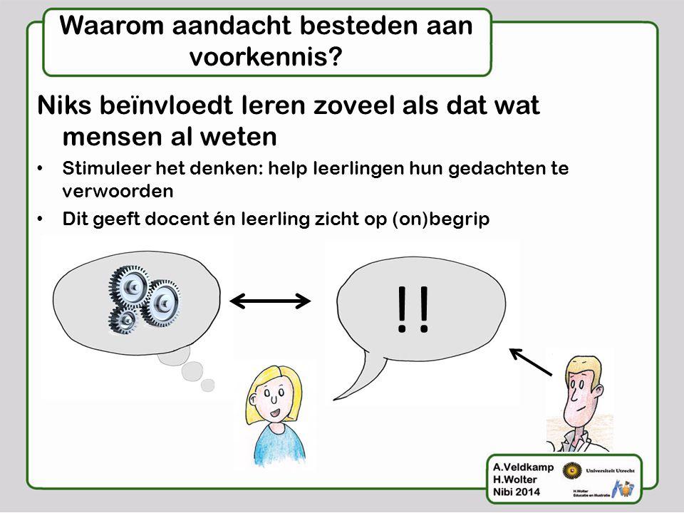 Waarom aandacht besteden aan voorkennis? Niks beïnvloedt leren zoveel als dat wat mensen al weten • Stimuleer het denken: help leerlingen hun gedachte