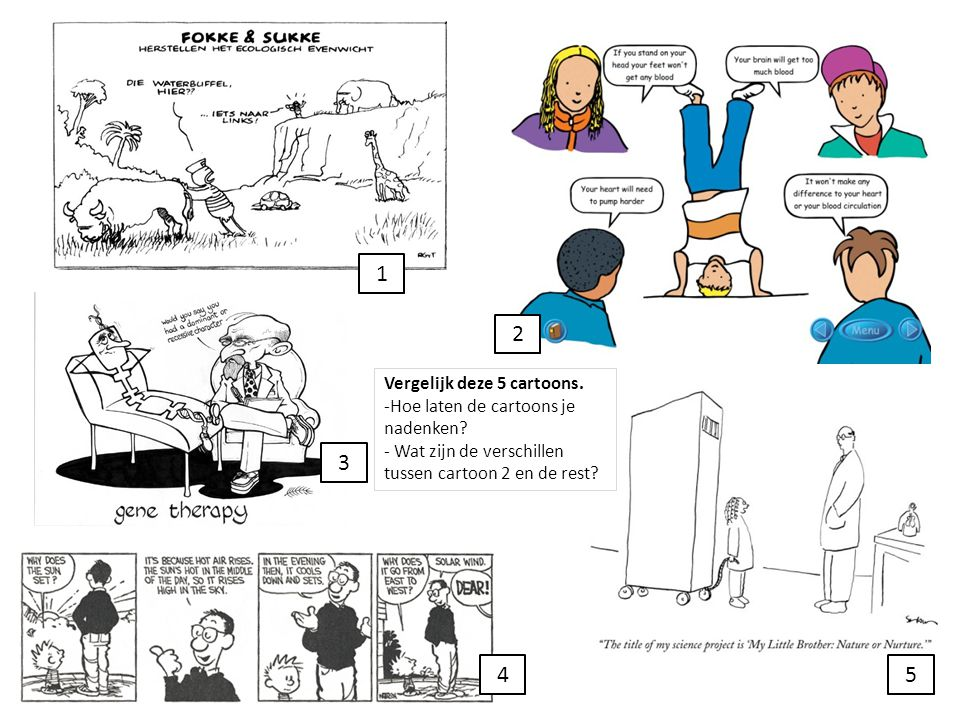 1 3 4 2 5 Vergelijk deze 5 cartoons. -Hoe laten de cartoons je nadenken? - Wat zijn de verschillen tussen cartoon 2 en de rest?