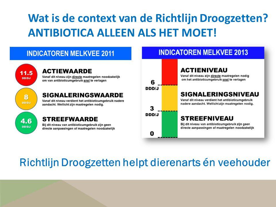 Wat is de context van de Richtlijn Droogzetten? ANTIBIOTICA ALLEEN ALS HET MOET! Richtlijn Droogzetten helpt dierenarts én veehouder