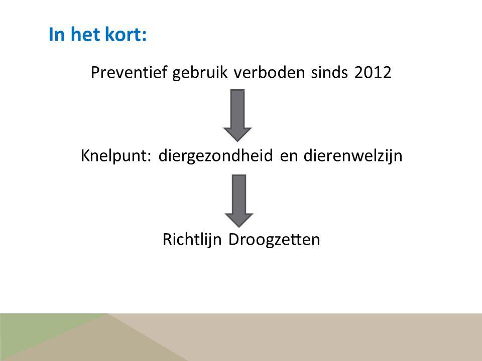 In het kort: Preventief gebruik verboden sinds 2012 Knelpunt: diergezondheid en dierenwelzijn Richtlijn Droogzetten