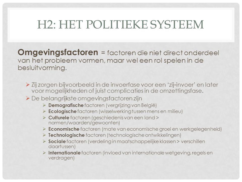 H2: HET POLITIEKE SYSTEEM Omgevingsfactoren = factoren die niet direct onderdeel van het probleem vormen, maar wel een rol spelen in de besluitvorming.