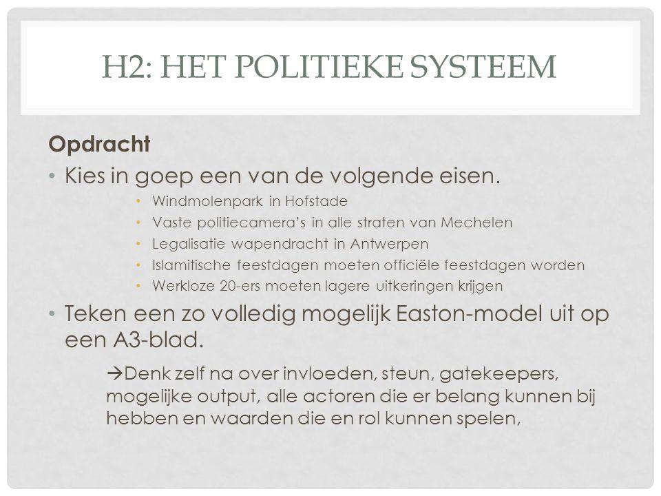 H2: HET POLITIEKE SYSTEEM Opdracht • Kies in goep een van de volgende eisen. • Windmolenpark in Hofstade • Vaste politiecamera's in alle straten van M