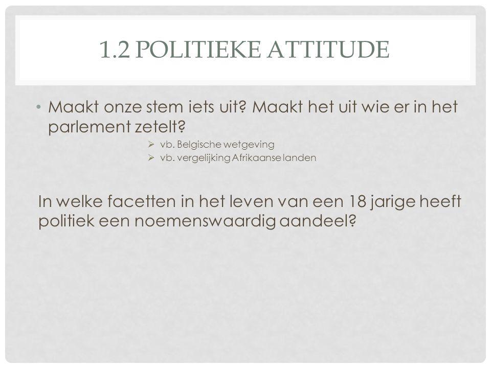 1.2 POLITIEKE ATTITUDE • Maakt onze stem iets uit? Maakt het uit wie er in het parlement zetelt?  vb. Belgische wetgeving  vb. vergelijking Afrikaan