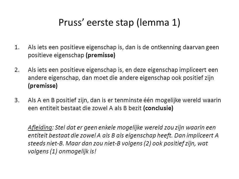 Pruss' eerste stap (lemma 1) 1.Als iets een positieve eigenschap is, dan is de ontkenning daarvan geen positieve eigenschap (premisse) 2.Als iets een