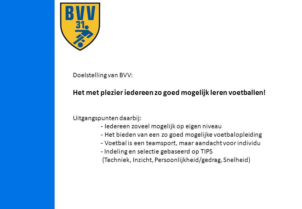 Doelstelling van BVV: Het met plezier iedereen zo goed mogelijk leren voetballen.
