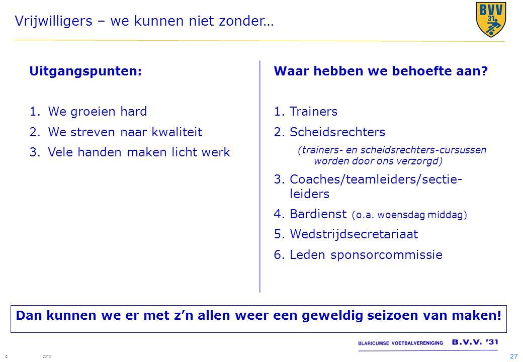 27 © 2010 Vrijwilligers – we kunnen niet zonder… Uitgangspunten: 1.We groeien hard 2.We streven naar kwaliteit 3.Vele handen maken licht werk Waar hebben we behoefte aan.