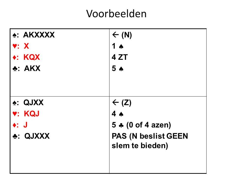 Voorbeelden ♠: AKXXXX ♥: X ♦: KQX ♣: AKX  (N) 1  4 ZT 5  ♠: QJXX ♥: KQJ ♦: J ♣: QJXXX  (Z) 4  5  (0 of 4 azen) PAS (N beslist GEEN slem te biede